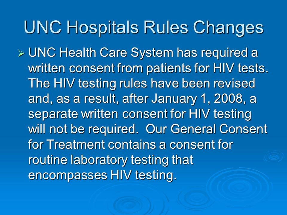 UNC Hospitals Rules Changes