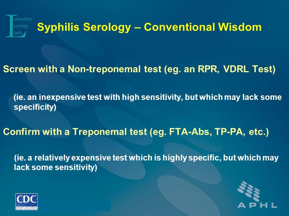 Syphilis Serology – Conventional Wisdom