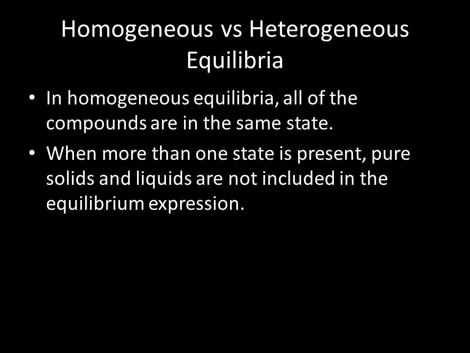Homogeneous vs Heterogeneous Equilibria