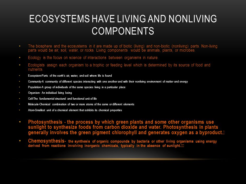 Ecosystems HAVE LIVING AND NONLIVING COMPONENTS