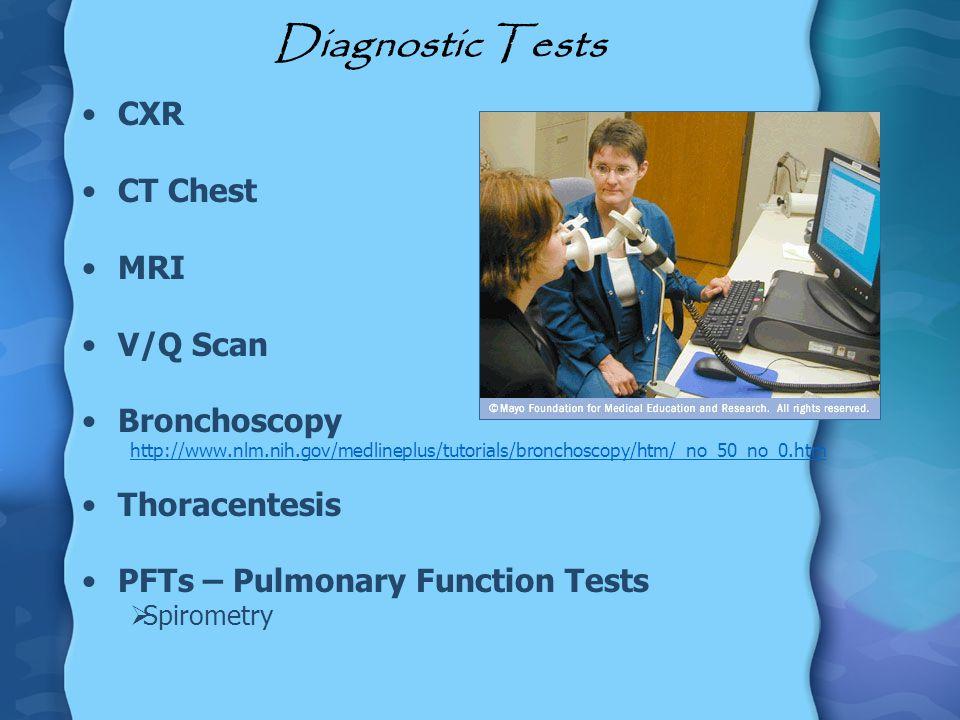 Diagnostic Tests CXR CT Chest MRI V/Q Scan Bronchoscopy Thoracentesis