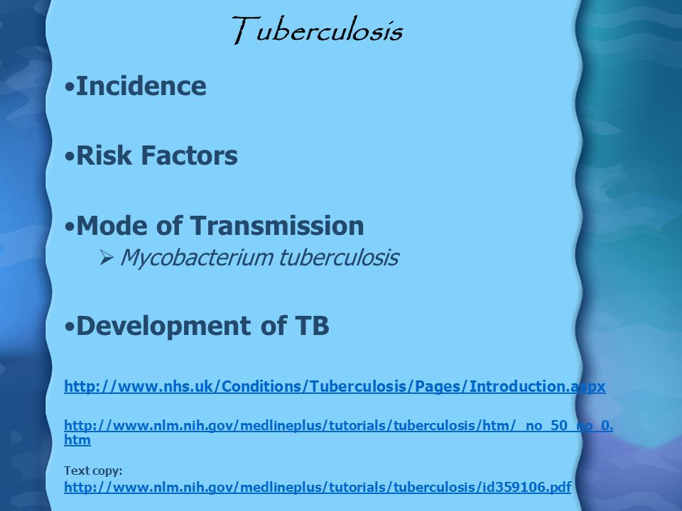 Tuberculosis Incidence Risk Factors Mode of Transmission
