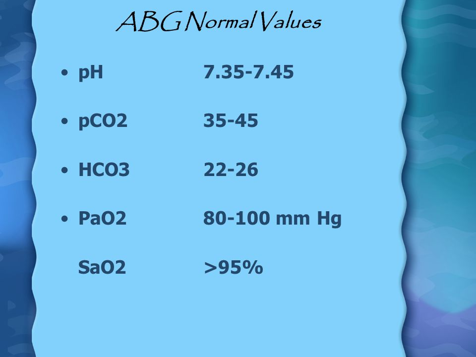 ABG Normal Values pH 7.35-7.45 pCO2 35-45 HCO3 22-26 PaO2 80-100 mm Hg