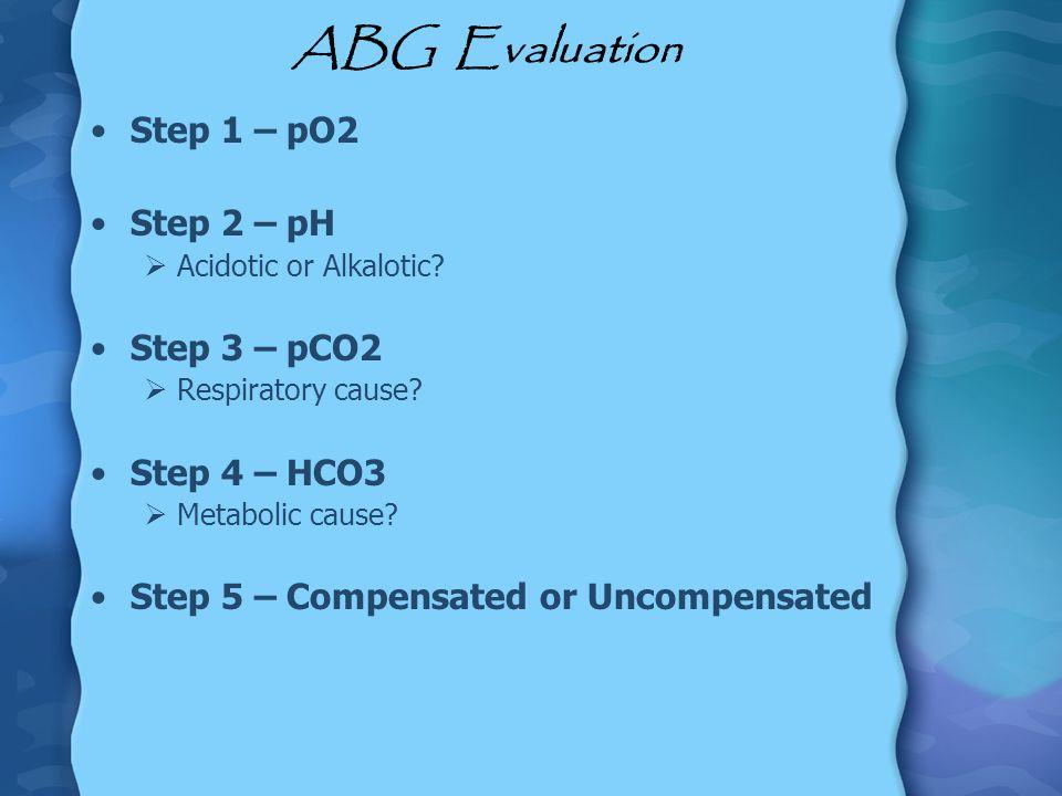 ABG Evaluation Step 1 – pO2 Step 2 – pH Step 3 – pCO2 Step 4 – HCO3