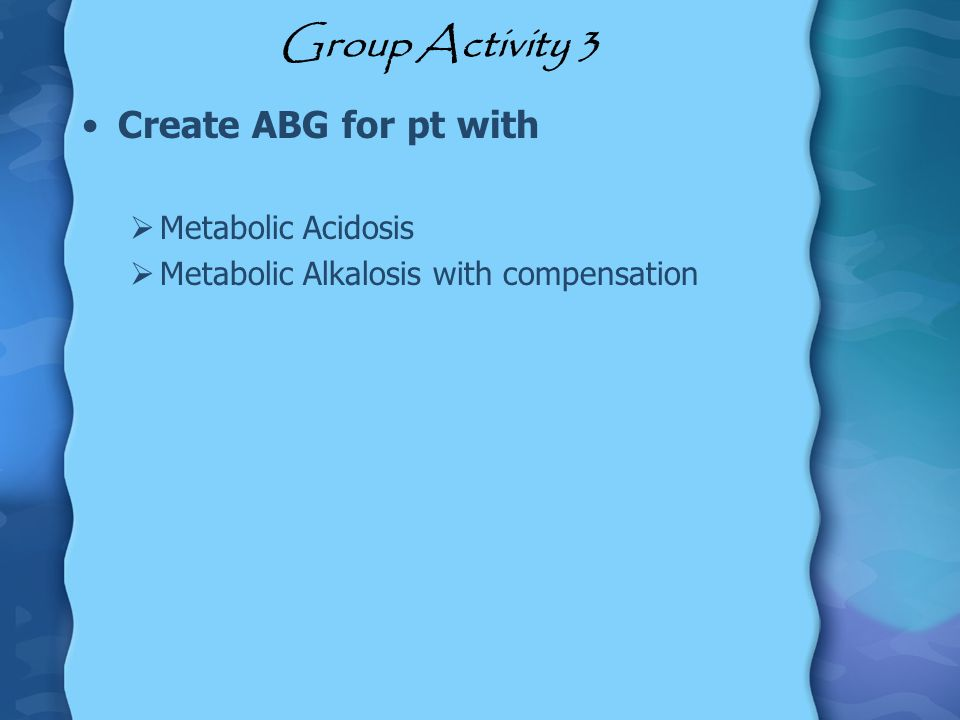 Group Activity 3 Create ABG for pt with Metabolic Acidosis