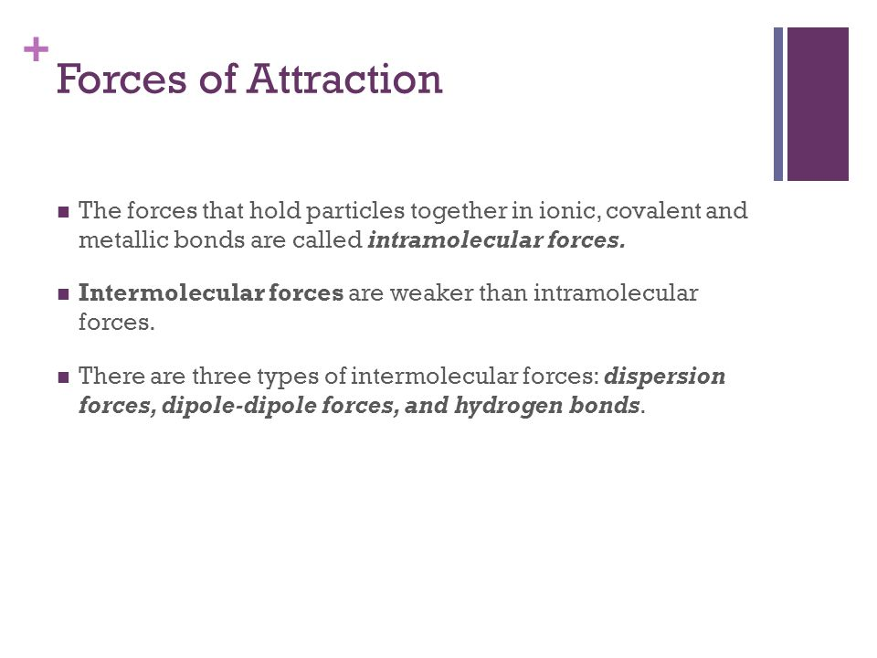 Forces of Attraction The forces that hold particles together in ionic, covalent and metallic bonds are called intramolecular forces.