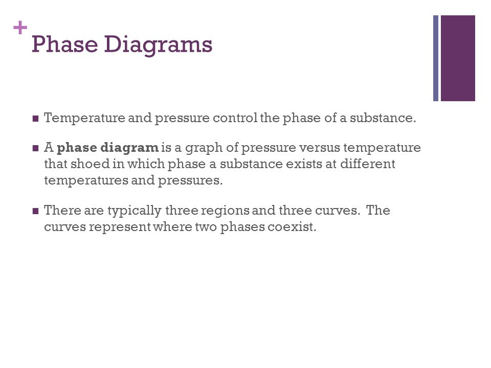 Phase Diagrams Temperature and pressure control the phase of a substance.