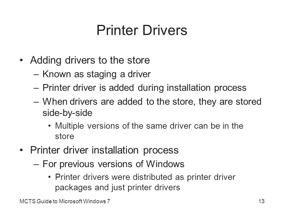 Printer Drivers Adding drivers to the store