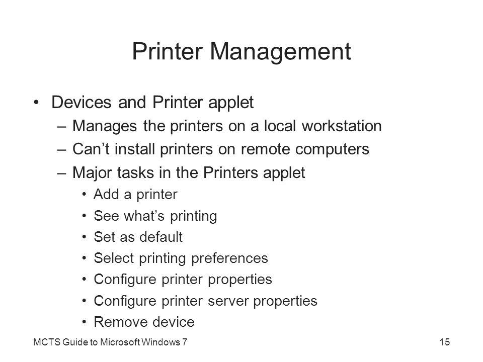 Printer Management Devices and Printer applet