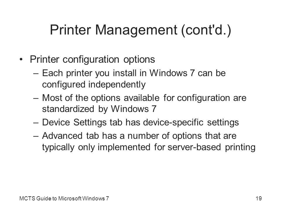 Printer Management (cont d.)