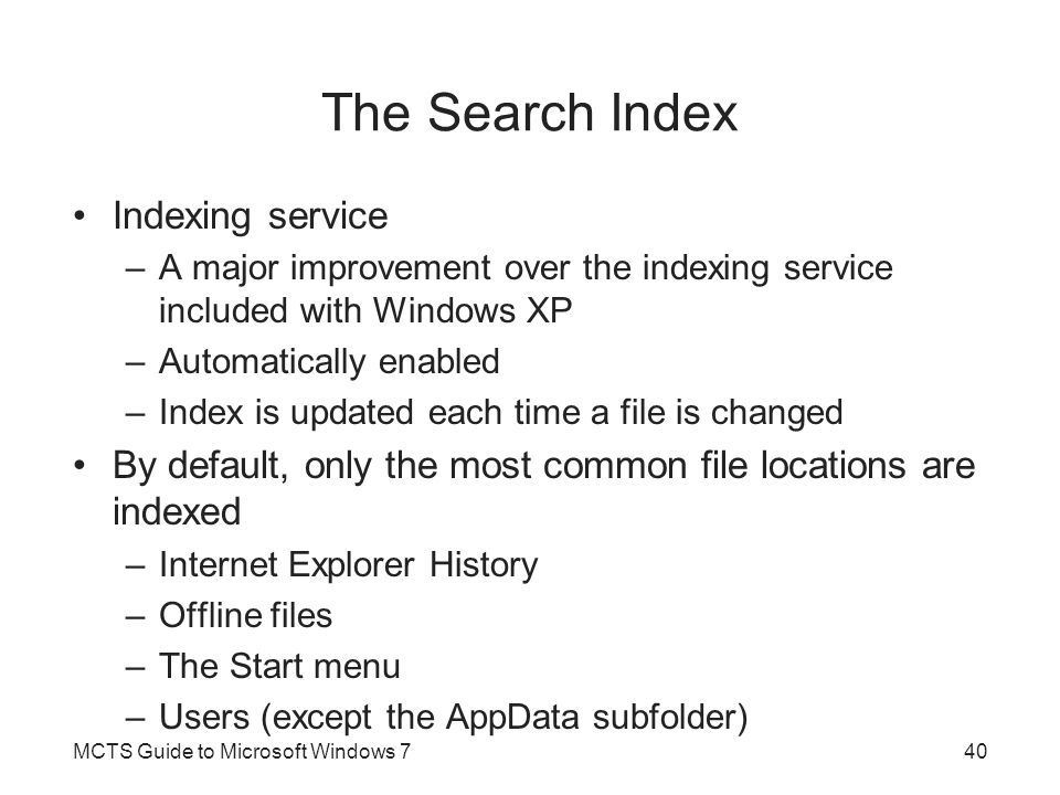 The Search Index Indexing service