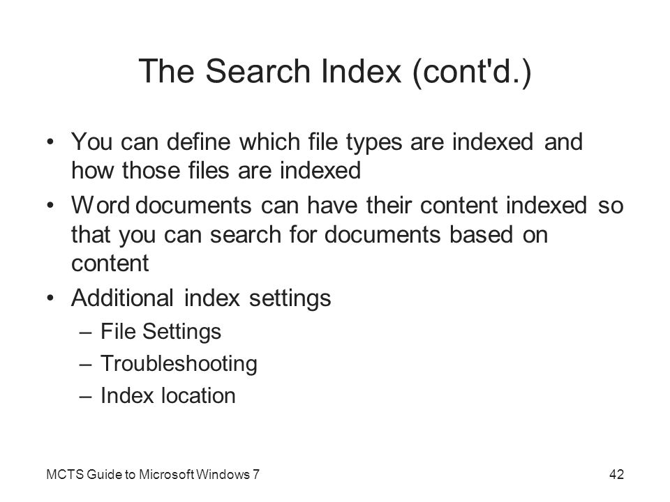 The Search Index (cont d.)