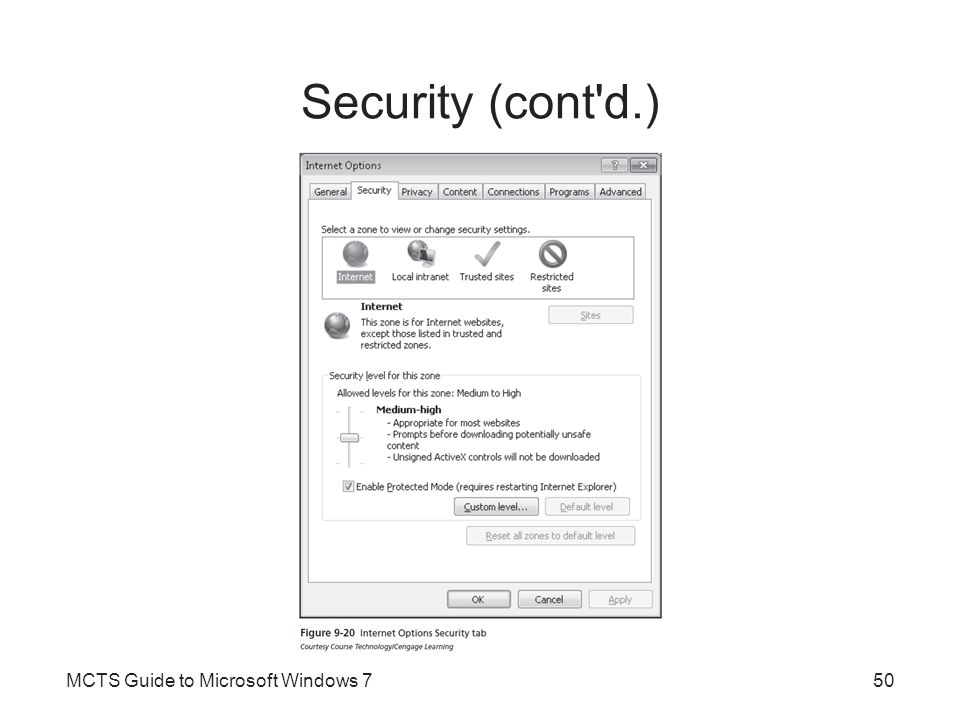 Security (cont d.) MCTS Guide to Microsoft Windows 7