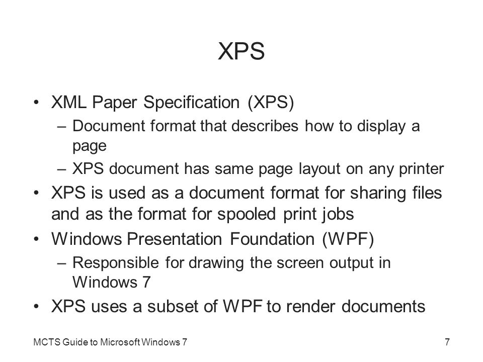 XPS XML Paper Specification (XPS)