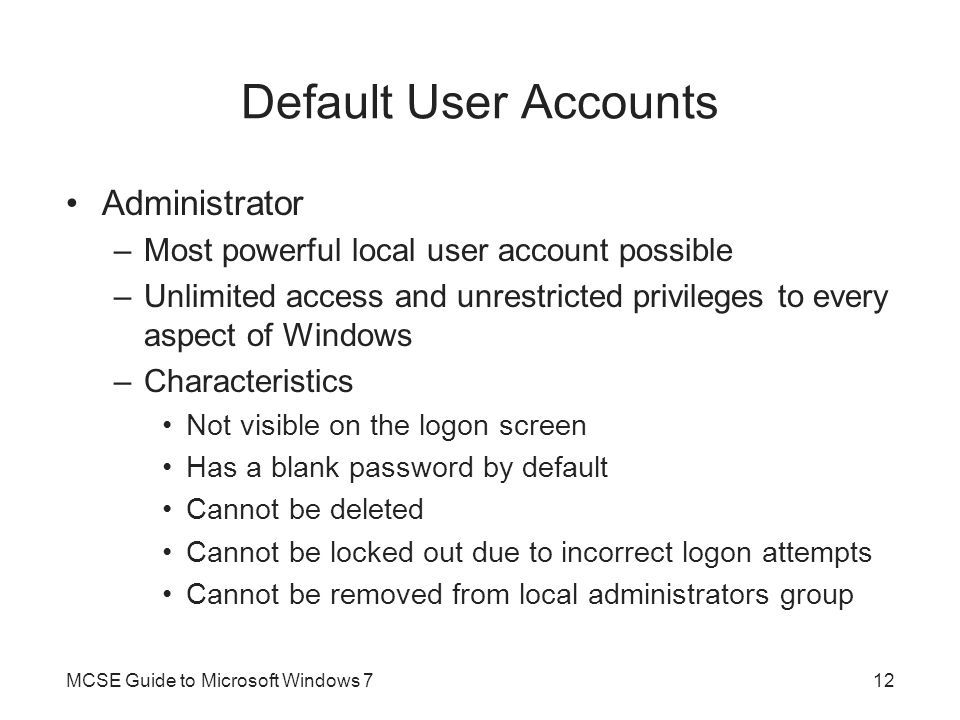 Default User Accounts Administrator