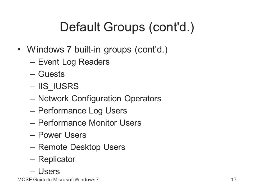 Default Groups (cont d.)