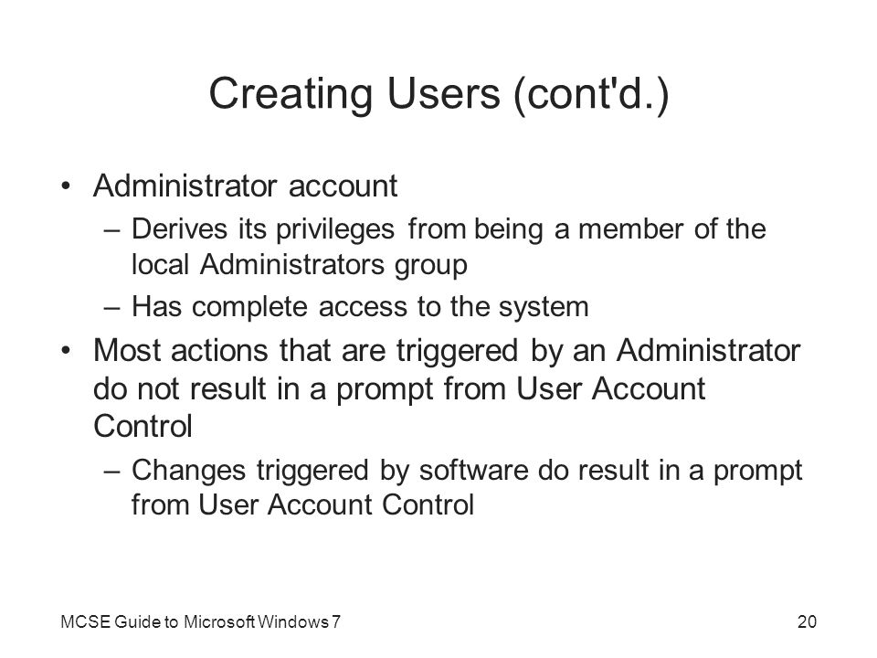 Creating Users (cont d.)