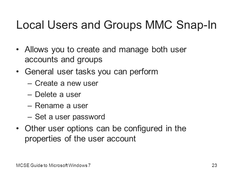 Local Users and Groups MMC Snap-In
