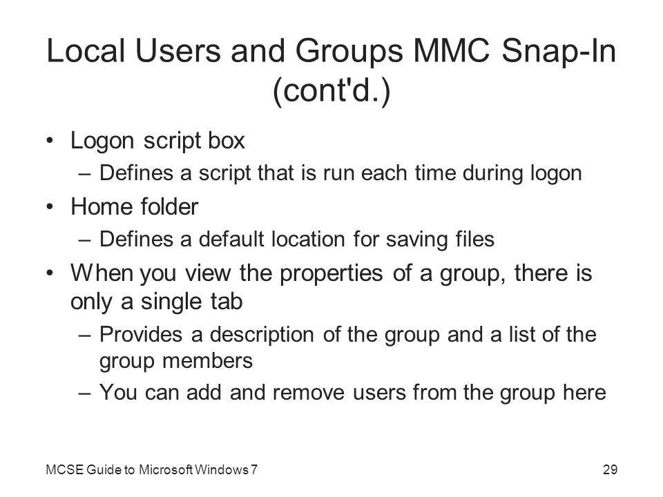 Local Users and Groups MMC Snap-In (cont d.)