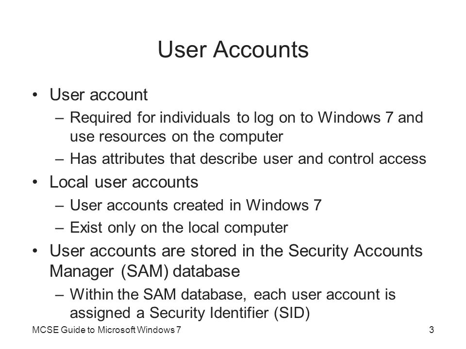 User Accounts User account Local user accounts