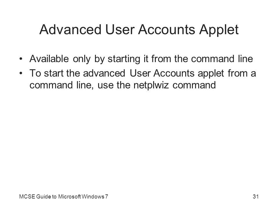 Advanced User Accounts Applet