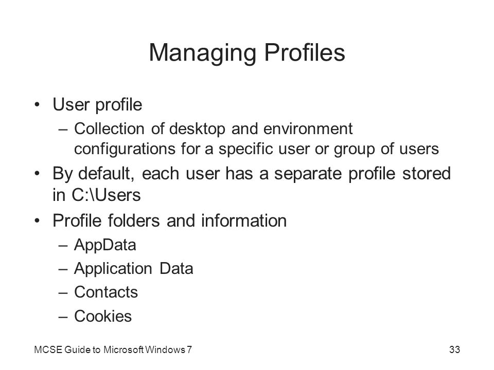 Managing Profiles User profile
