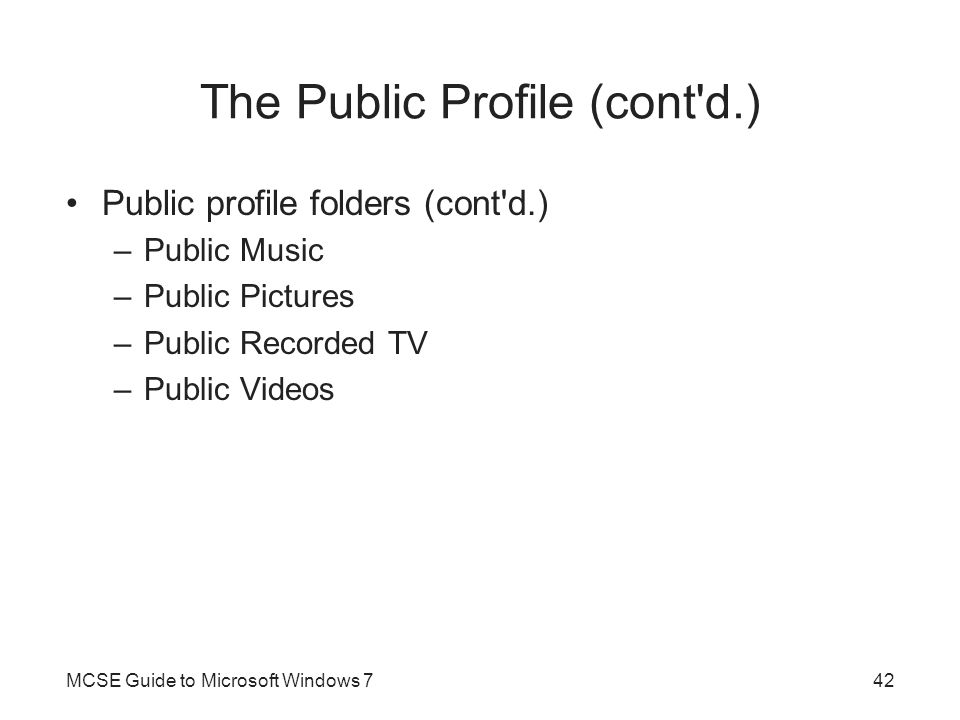 The Public Profile (cont d.)