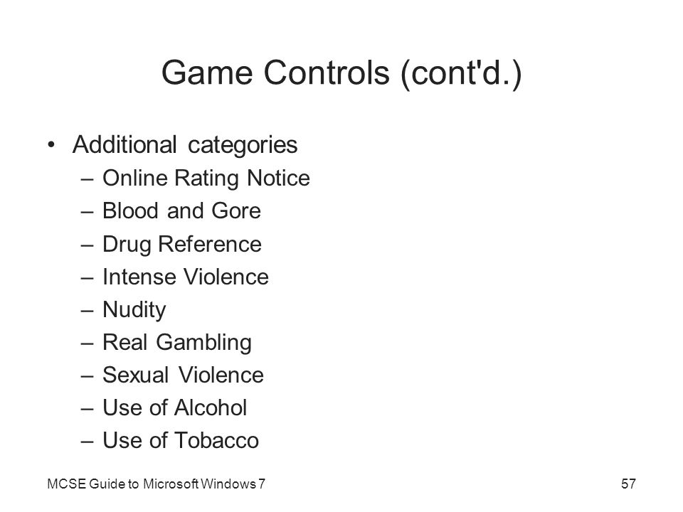 Game Controls (cont d.) Additional categories Online Rating Notice