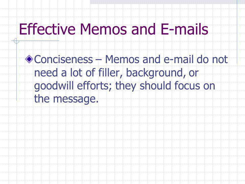 Effective Memos and E-mails