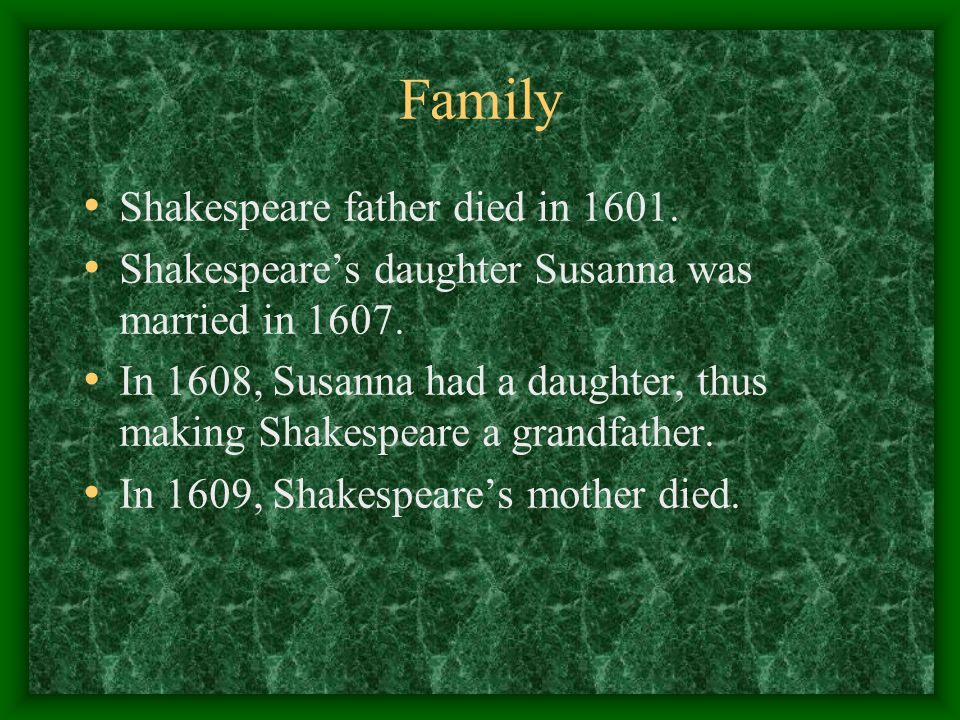 Family Shakespeare father died in 1601.