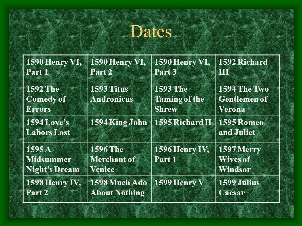 Dates 1590 Henry VI, Part 1 1590 Henry VI, Part 2