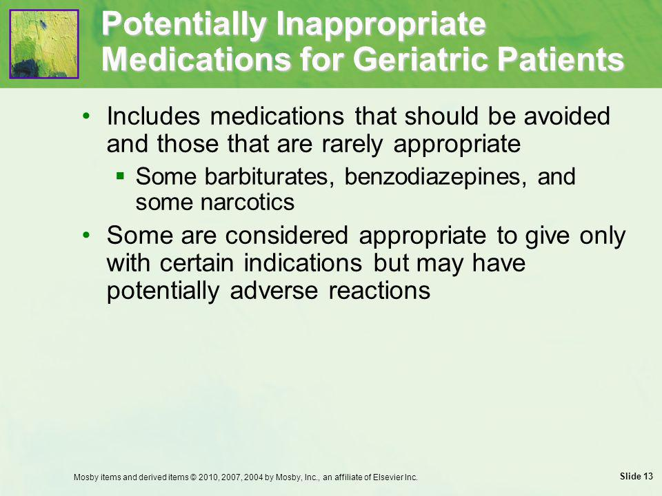 Potentially Inappropriate Medications for Geriatric Patients