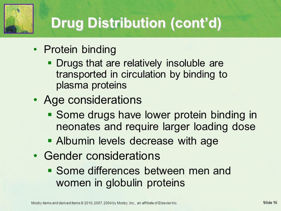 Drug Distribution (cont'd)