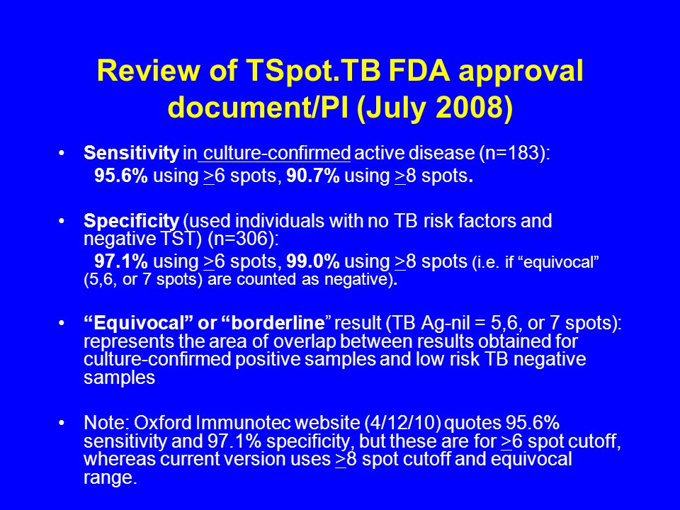 Review of TSpot.TB FDA approval document/PI (July 2008)