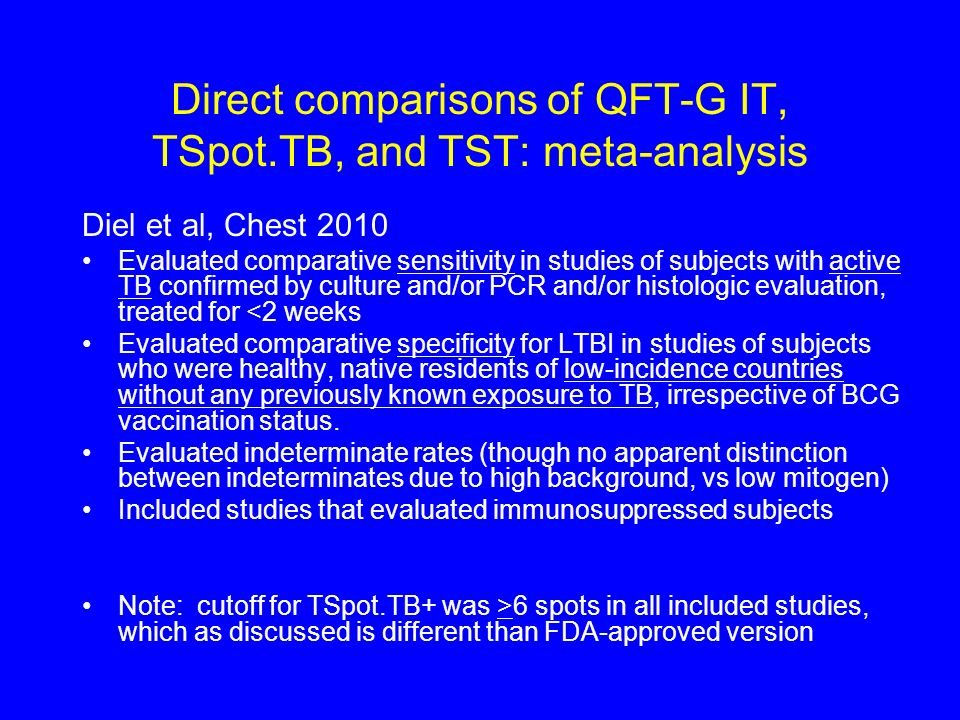 Direct comparisons of QFT-G IT, TSpot.TB, and TST: meta-analysis