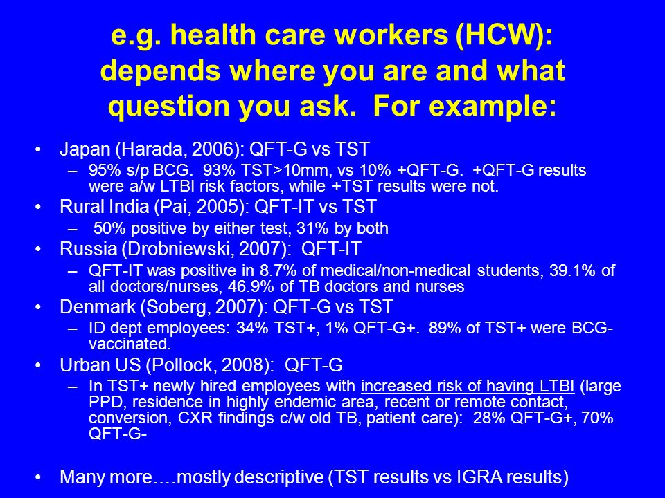 e.g. health care workers (HCW): depends where you are and what question you ask. For example: