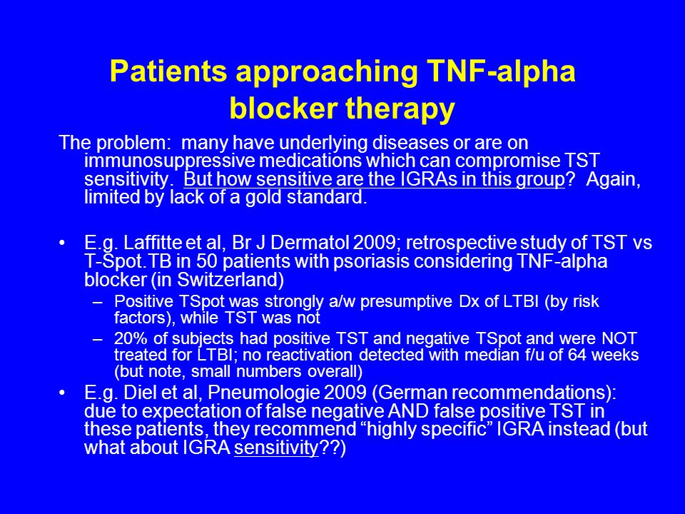 Patients approaching TNF-alpha blocker therapy