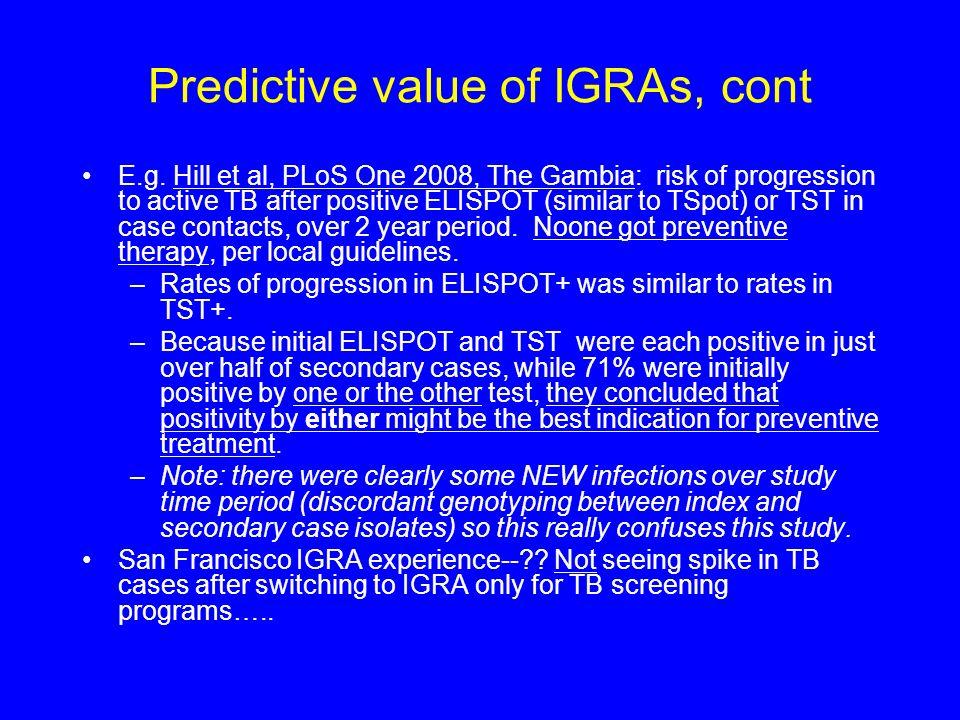 Predictive value of IGRAs, cont