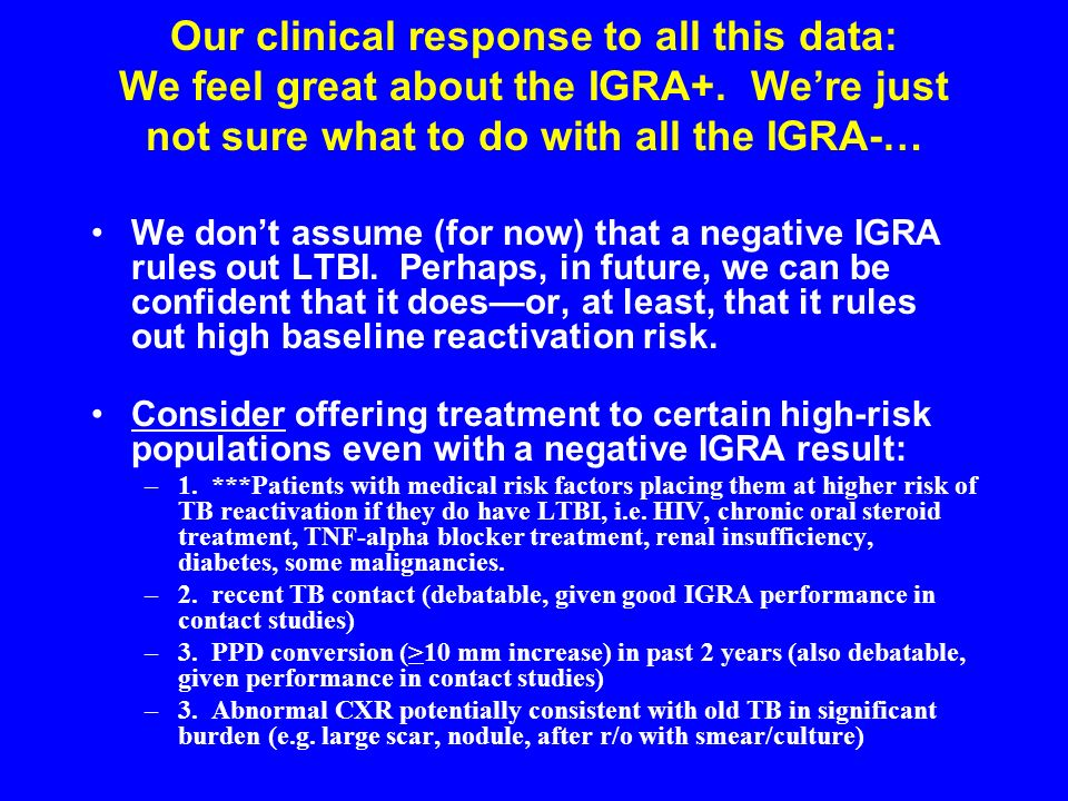 Our clinical response to all this data: We feel great about the IGRA+