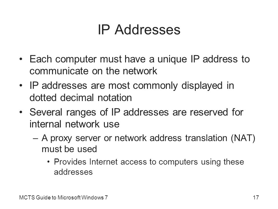 IP Addresses Each computer must have a unique IP address to communicate on the network.