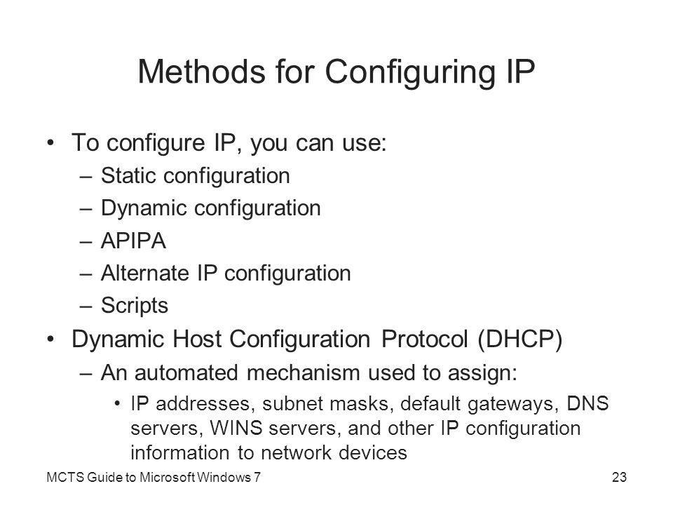Methods for Configuring IP