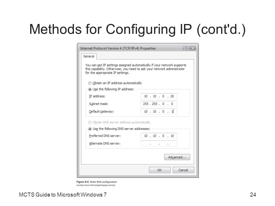 Methods for Configuring IP (cont d.)