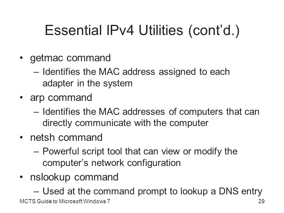 Essential IPv4 Utilities (cont'd.)