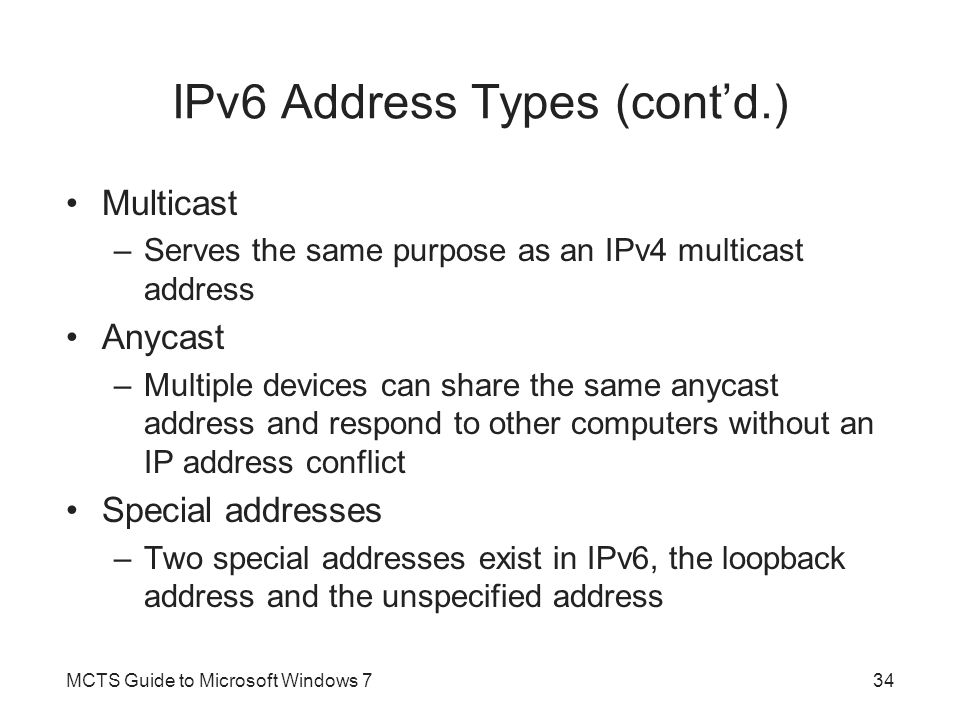 IPv6 Address Types (cont'd.)
