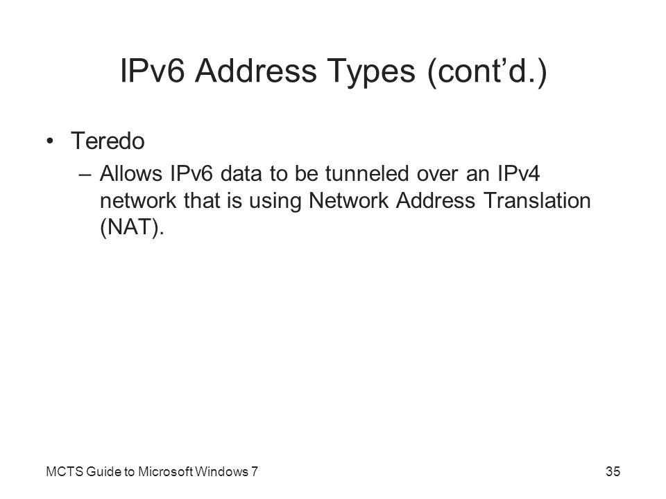 IPv6 Address Types (cont'd.)