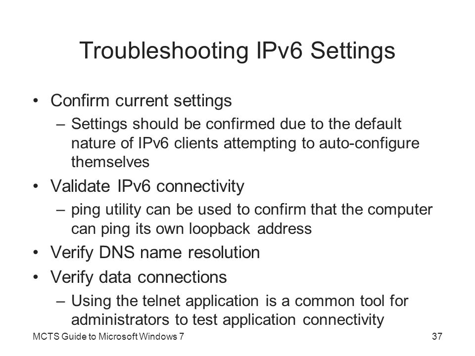 Troubleshooting IPv6 Settings
