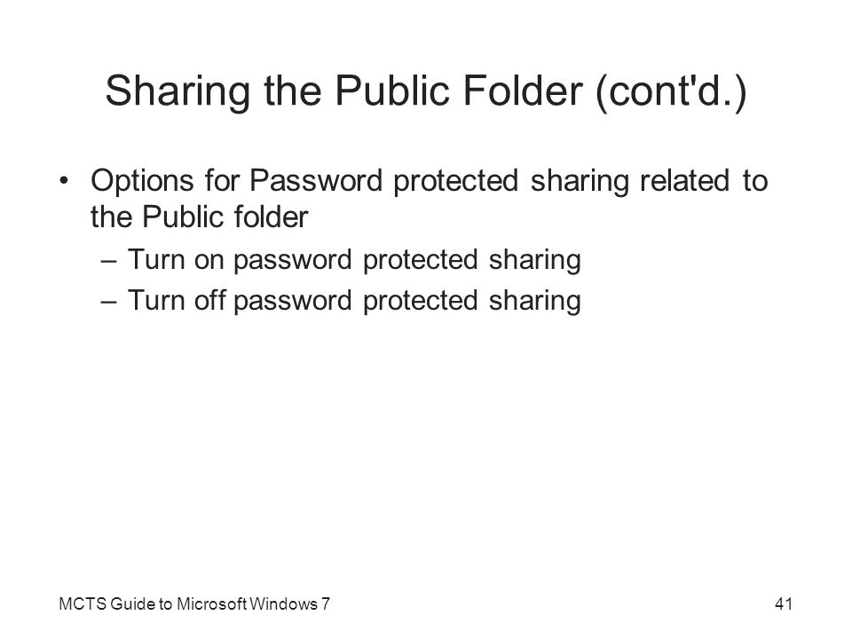 Sharing the Public Folder (cont d.)