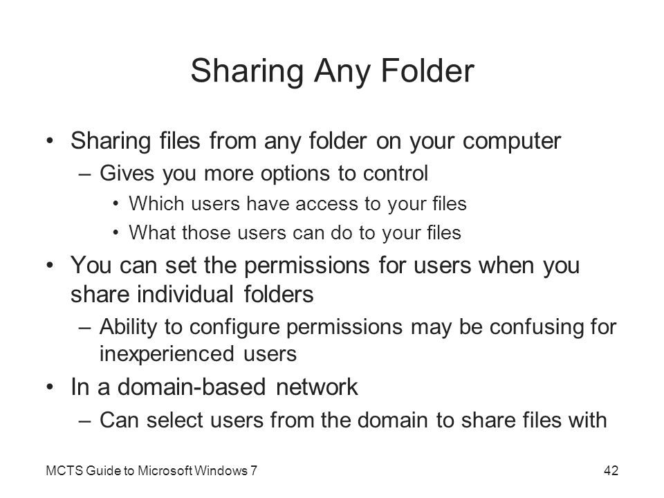 Sharing Any Folder Sharing files from any folder on your computer