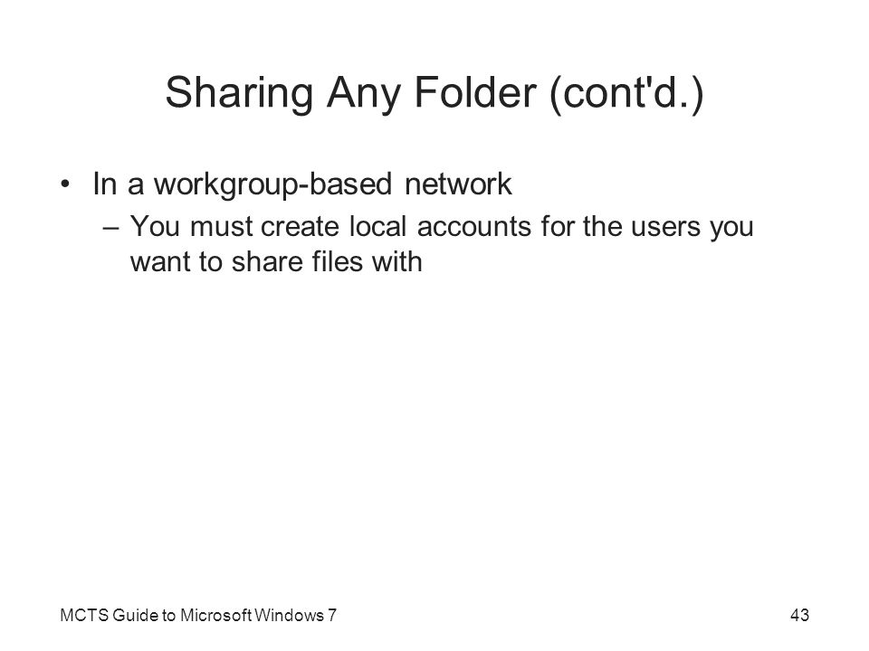 Sharing Any Folder (cont d.)