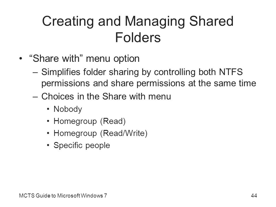 Creating and Managing Shared Folders